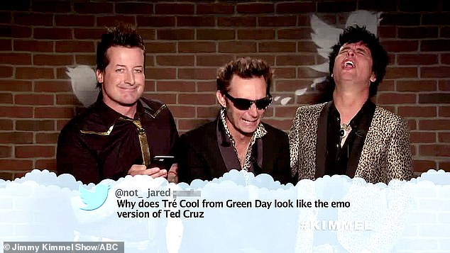 Any resemblance? Green Day drummer Tré Cool (L) was accused of looking like 'the emo version of [Texas Junior Senator] Ted Cruz'