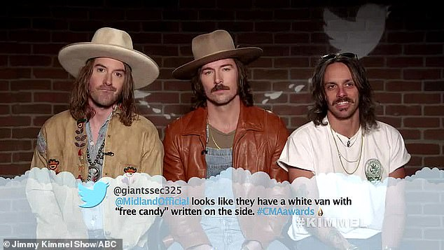 """'It's a black van': A Twitter user wrote that Grammy-nominated country band Midland looked like 'they have a white van with """"free candy"""" written on the site'"""