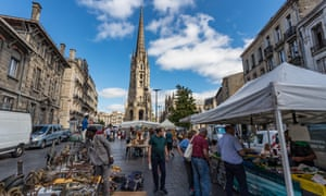 The Sunday morning flea market in Place Saint-Michael, Bordeaux.