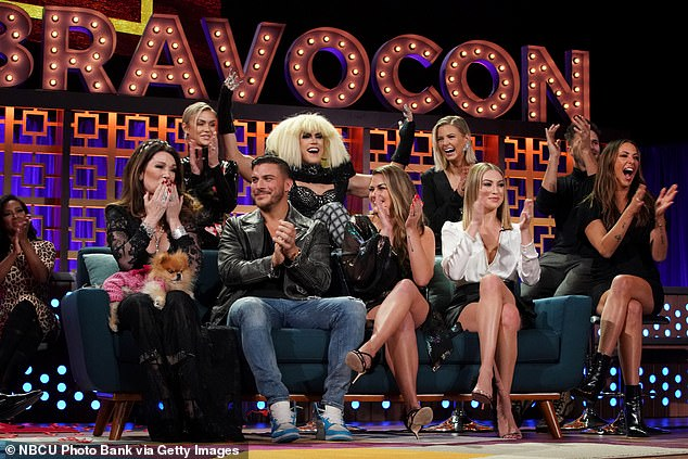 Gang's all here: The cast appeared at BravoCon, seen above with Lisa Vanderpump, Jax Taylor, Tom Sandoval, Brittany Cartwright, Ariana Madix, Tom Schwartz and Kristen Doute (left to right)