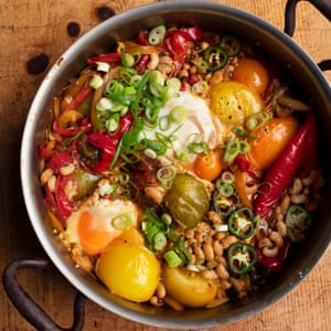 Peppers, beans and eggs.