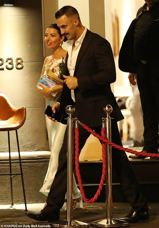 Pals: Also spotted leaving the party was MAFS star Nic Jovanovic (right), who was in the company of Bridgette Lee (left)