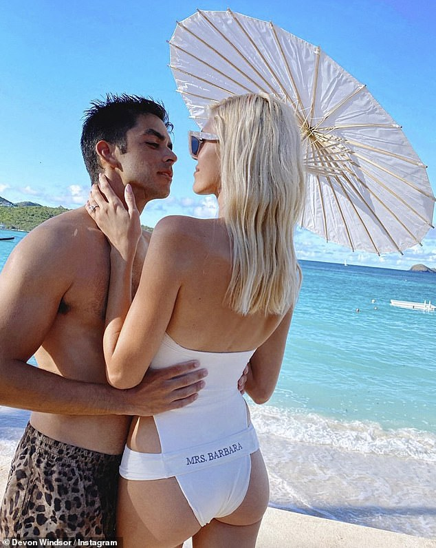 Time to celebrate! Georgia has spent time on the island for Devon Windsor's wedding, which took place on Friday. Devon is pictured with husband Johnny 'Dex' Barbar