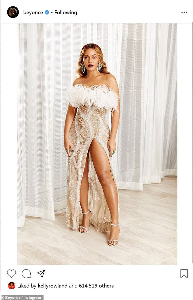 Ornate: Beyoncé channeled 1920s flapper style with her dress' beads and feathers