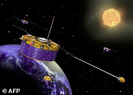 The four Cluster II spacecraft, depicted here in an artist's impression