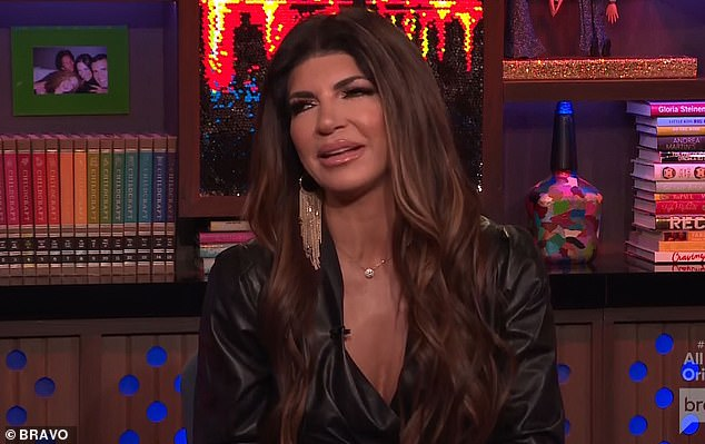 Lived it: Teresa protested saying, 'I live the show', after Andy told the camera she doesn't watch RHONJ