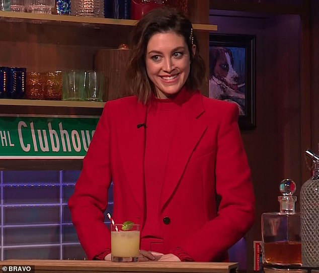 Good question: Bluff City Law actress Caitlin McGee, 31, was behind the bar and she wrapped things up for the night by asking Teresa to think back to the days when she famously flipped a table at a castmate