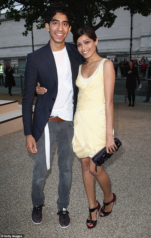 Way back when:The actress was previously in a relationship with fellow actor and Slumdog Millionaire co-star Dev Patel, 28, for six years from 2009 to 2014 (pictured in 2010)