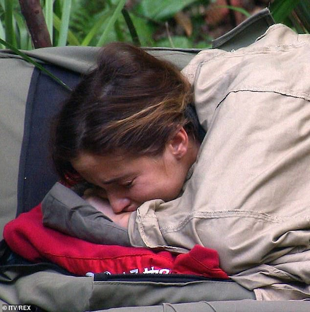 Tears: Jacqueline was seen weeping as she admitted to missing her husband Dan and their children during Thursday night's I'm A Celebrity... Get Me Out Of Here!