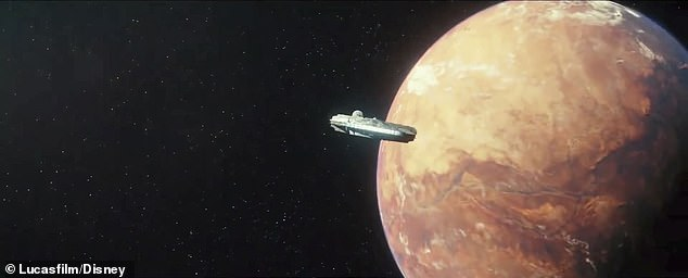On their way to another world: Here the Millennium Falcon is seen in flight