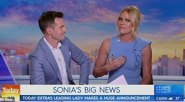 Moving on: An emotional Sonia Kruger QUIT the Nine Network live on Today Extra on Thursday... after being offered 'more than $1million a year' by Seven (pictured on the show on Thursday with co-host David Campbell)