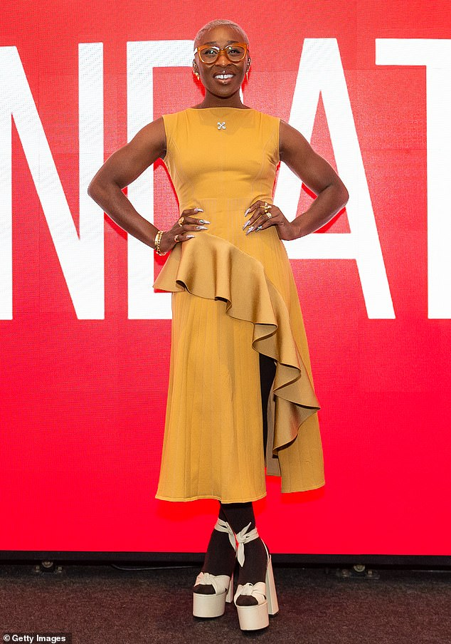 Shining star: Cynthia Erivo attended the SAG-AFTRA Foundation Conversations program in to talk about her new biopic Harriet in New York City on Saturday