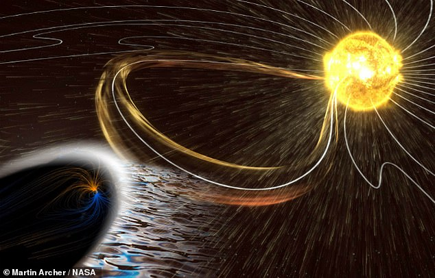 Astronomers have recorded for the first time the eerie warbling 'song' sung by the Earth's magnetic field when hit by a storm of charged particles sent from the Sun, as pictured in this artist's impression.The 'tune' is a sonic version of the stunning aurora light show