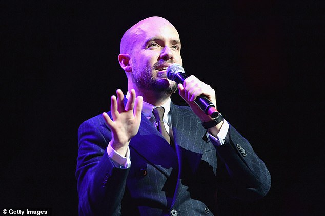 Men are, on average, funnier than women, claim psychologists who reviewed multiple past studies investigating how funny different people are. Pictured, English comedian Tom Allen