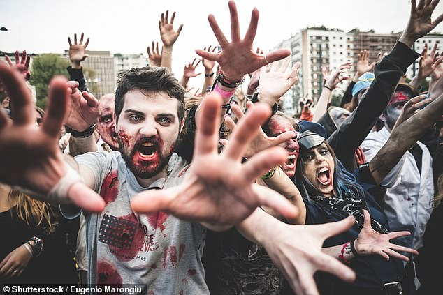 In the event of a brain-eating zombie apocalypse, your every action could determine your fate. Should you hide? Fight? Call the army? A study may have the answer (stock image)