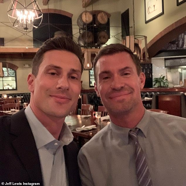 Having a blast: Jeff Lewis seemed care-free as he enjoyed a rare romantic night out with new beau Scott Anderson on Sunday