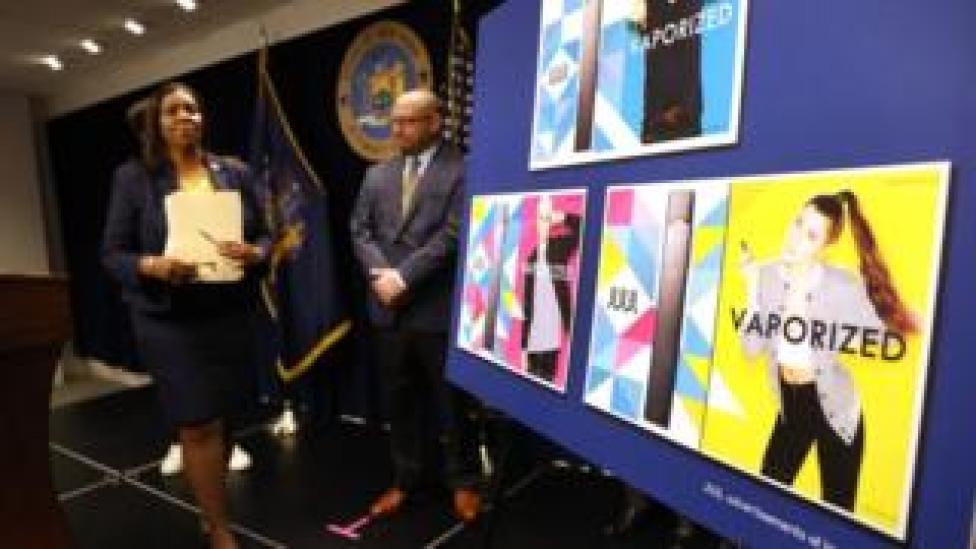 State Attorney General Letitia James leaves the podium after announcing a lawsuit against e-cigarette giant Juul on November 19, 2019 in New York City.
