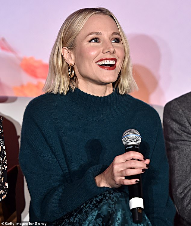 Glowing: Kristen Bell and Evan Rachel Wood, co-stars of Disney's upcoming Frozen 2, lit up the stage with smiles on Saturday for the film's global press conference