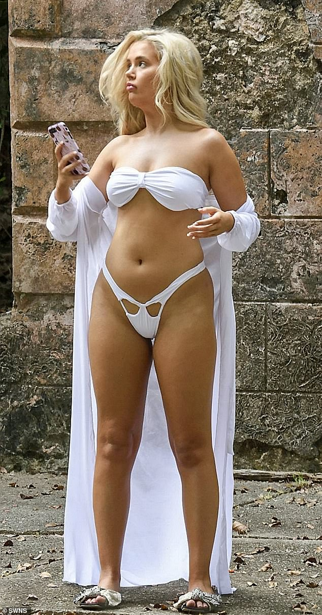 All white? Love Island star Molly-Mae Hague was up to her old tricks once more as she stripped down to a barely-there white bikini on Tuesday