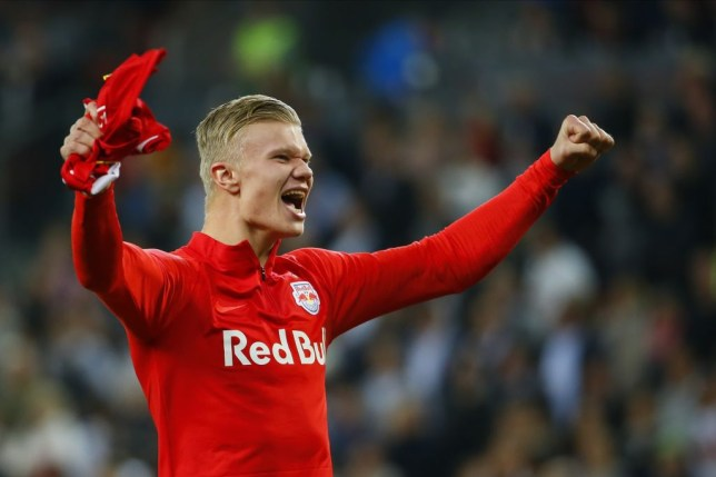 Erling Haaland celebrates scoring a goal for RB Salzburg