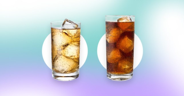 glass of ginger ale and glass of diet coke