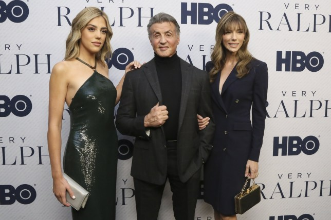 "BEVERLY HILLS, CALIFORNIA - NOVEMBER 11: (L-R) Sistine Stallone, Sylvester Stallone and Jennifer Flavin attend the Premiere Of HBO Documentary Film ""Very Ralph"" at The Paley Center for Media on November 11, 2019 in Beverly Hills, California. (Photo by Gabriel Olsen/FilmMagic)"
