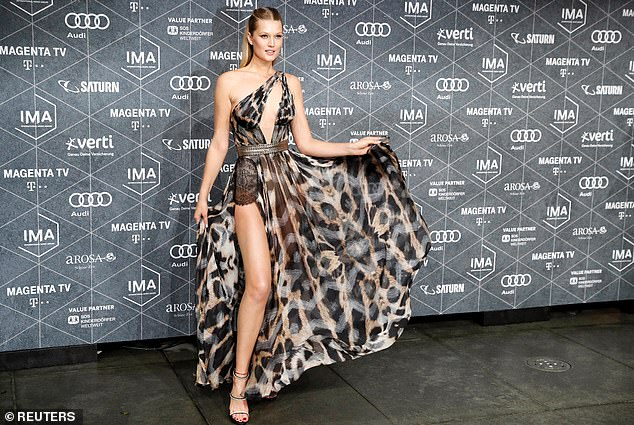 Radiant: Toni Garrn, 27, looked nothing short of sensational as she hosted the International Music Award show in Berlin, Germany on Friday