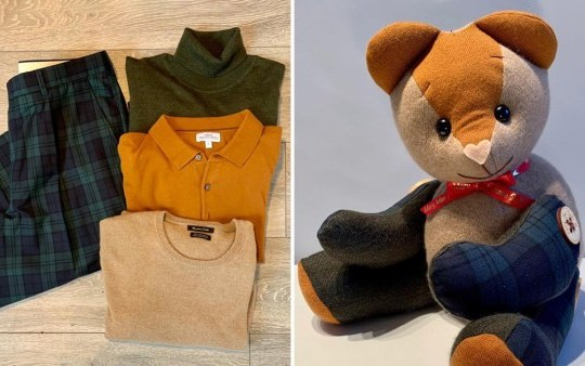 Woman makes beautiful memory bears out of lost loved ones' old clothes