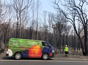 A Wires animal rescue van in a bushfire-affected area