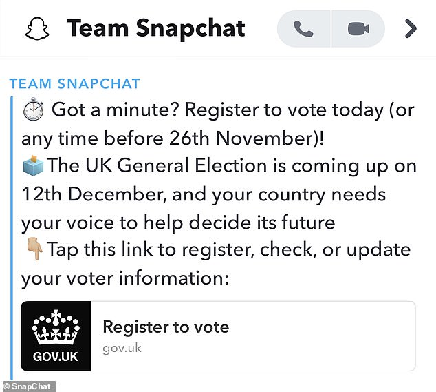 The mass snap was sent out on November 12, two weeks before the deadline to register on November 26.The message was the first time Snapchat has used this tactic, despite several other forays into civil engagement (pictured)