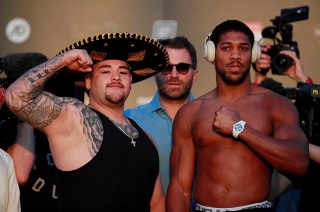 Anthony Joshua and Andy Ruiz Jr pose for pictures at the weigh-ins for their heavyweight rematch