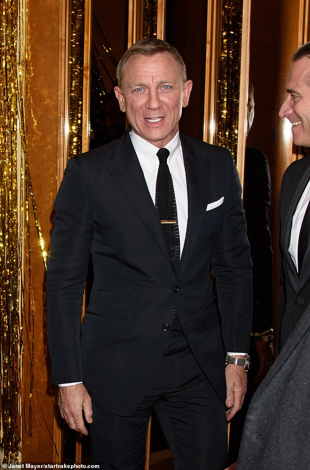 On cloud nine: Daniel Craig attended the launch of Bond's latest Omega watch at New York's Standard Hotel on Wednesday, just hours after the release of No Time To Die's first trailer