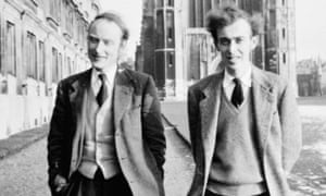 Francis Crick and James Watson, co-discoverers of the double-helix structure of DNA, in Cambridge.