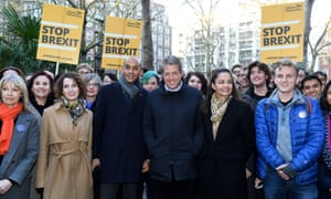Chuka Umunna and Hugh Grant with campaign volunteers in Westminster