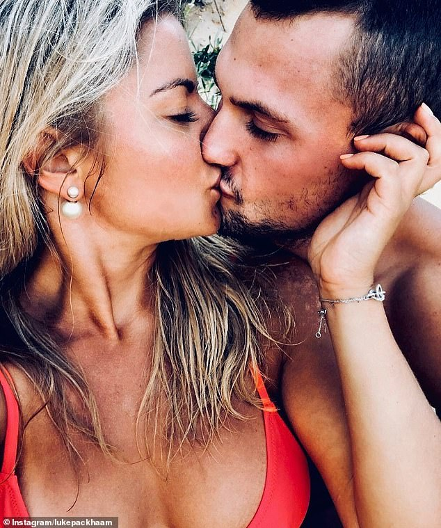 New flame: Love Island Australia's Luke Packham, 26, debuted his new girlfriend on Instagram on Monday, after splitting with co-star Cassie Lansdell. Pictured: Luke and the mystery woman