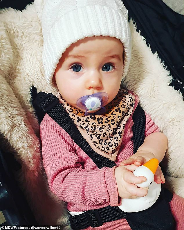 Karen Diamond, 28, was distraught when doctors allegedly asked if Willow (pictured) had been kissed by someone with a cold sore