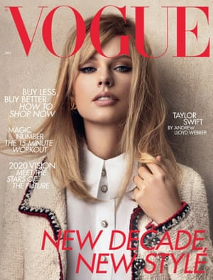UK Vogue's 2020 cover of Taylor Swift, styled by Edward Enninful, with an archive Chanel tweed jacket from the house's Métiers d'art Paris-New York 2005/2006 collection.