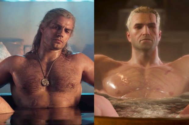 Henry Cavill as Geralt of Rivia, with the Witcher III version of the character (Netflix, CD Projekt Red)
