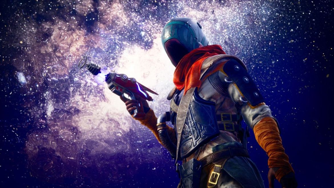 a figure in a spacesuit holds a blaster pistol with a purple sky above them in The Outer Worlds