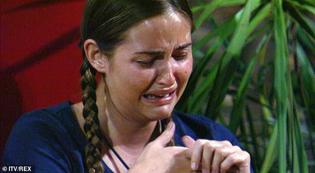 Emotional: Jacqueline broke down as she received a letter from her husband Dan during Thursday's episode of I'm A Celebrity... Get Me Out Of Here!