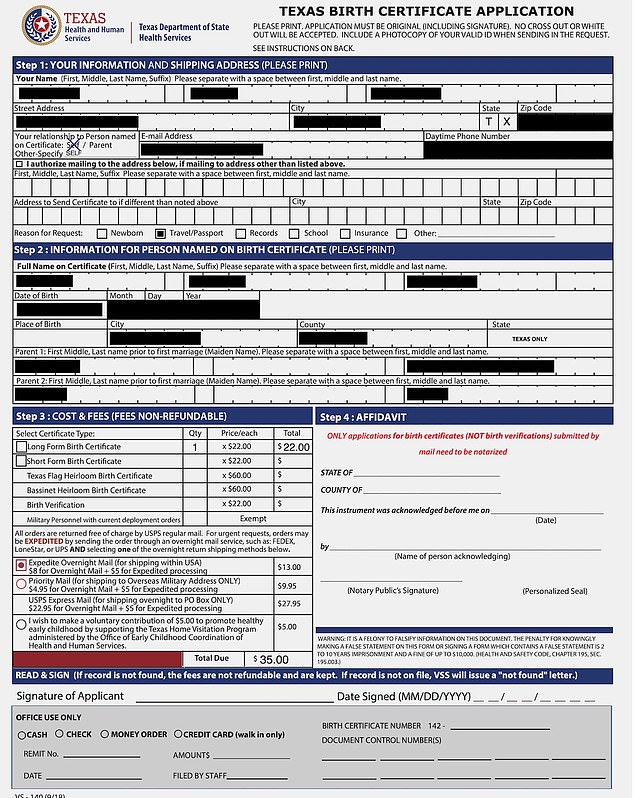 The records contain applicant's name, date-of-birth, current home address, email address, phone number and historical personal information, including past addresses, names of family members and the reason for the application