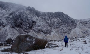 The glacial cirque Coire an t-Sneachda south of Cairn Gorm.