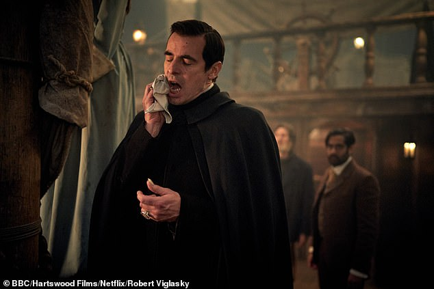 Trials: Mark also said that lead star Claes Bang 'had all the same problems Christopher Lee had' during filming as 'his contacts hurt, his fangs hurt, [and] his cape got in the way'