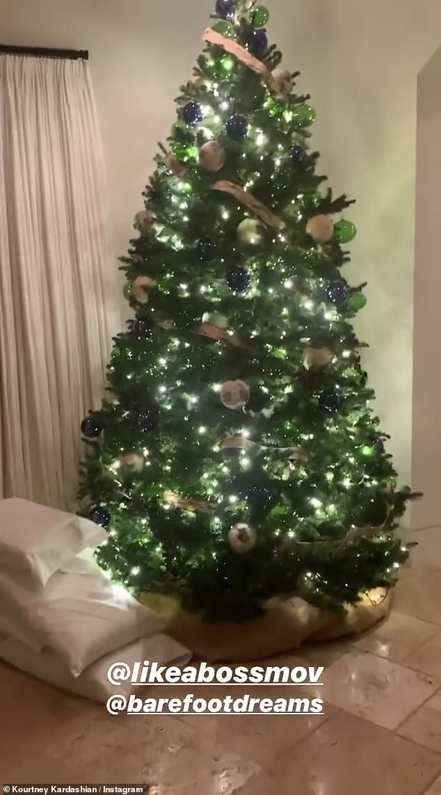 Simple look: Her tree was tall with white and gold ornaments; there appeared to be pillows nearby