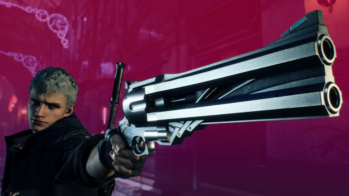 a gray-haired young man aiming a large double-barreled revolver in Devil May Cry 5