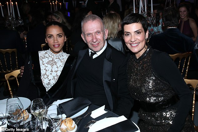 Event: Fashion designer Jean-Paul Goutier posed for a snap with Noemie Lenoir and Cristina Cordula