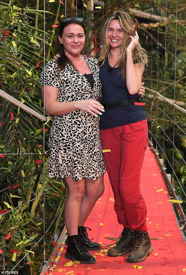 She's out:Nadine was greeted by sister Charmaine Coyle after she was eliminated from the jungle during Saturday night's show