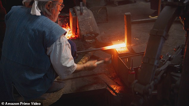 Fascinating:One part of the show sees James visit a samurai sword maker to help make one of the weapons, but as they're 'extremely dangerous', he was happy to admit he didn't 'want one'