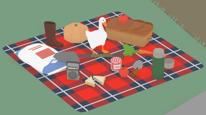 goose on picnic blanket from untitled goose game.