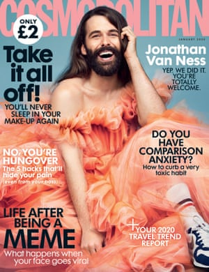 The UK Cosmopolitan January 2020 cover: Jonathan Van Ness, its first non-female cover star in 35 years.